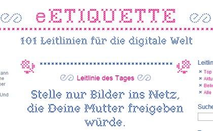 Etikette = Netikette = eetiquette.de